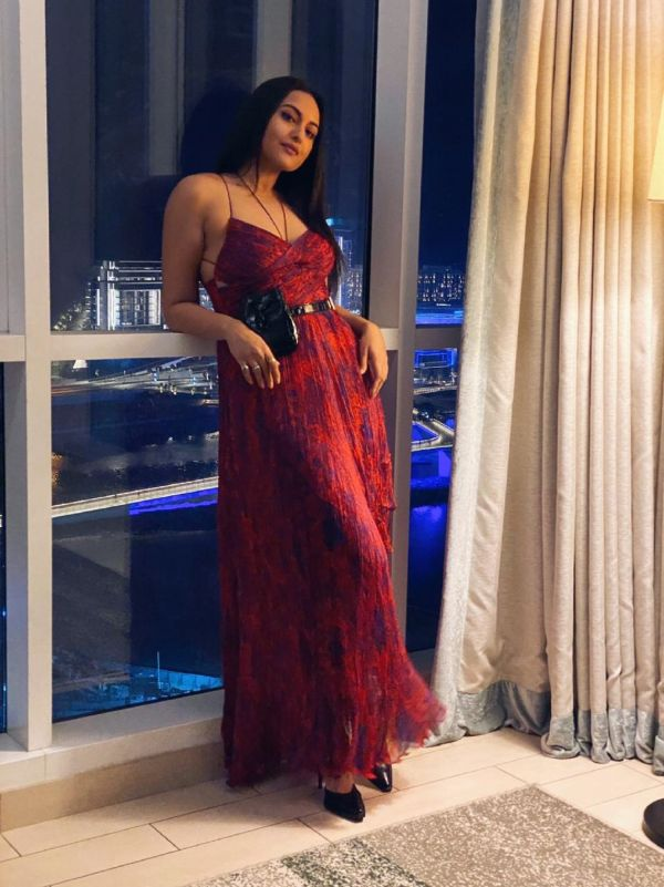 Sonakshi Sinha in a micropleated dress