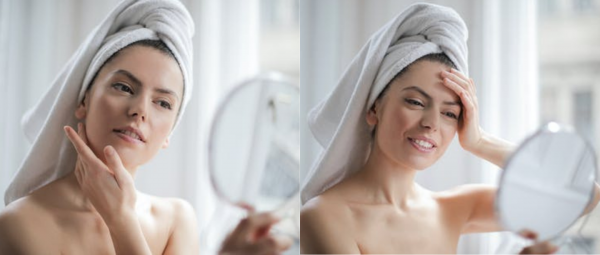 lady looking into the mirror skincare