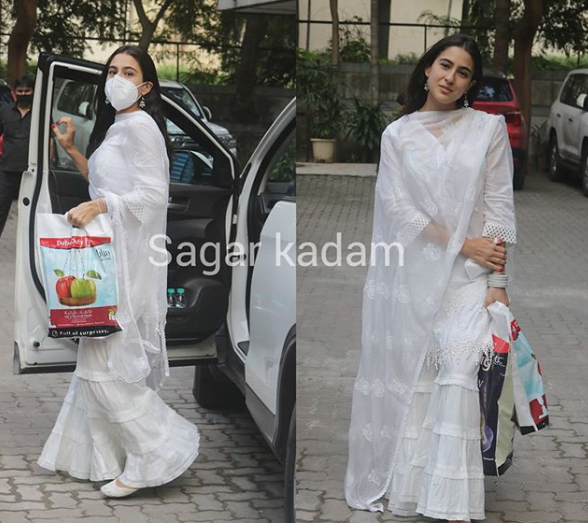 Sara Ali Khan  in festive monochrome whites