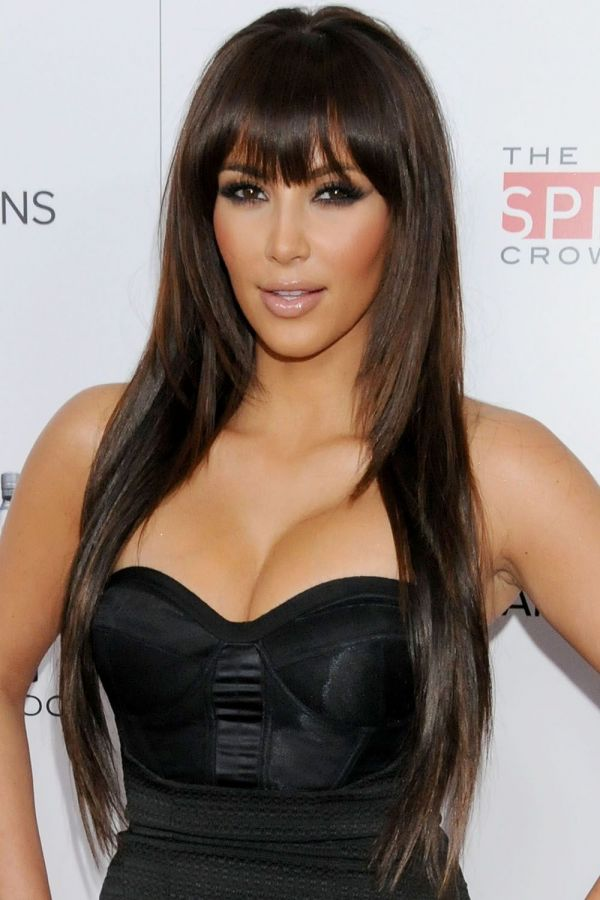 bangs long hairstyle for oval face shape