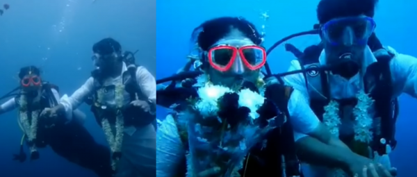 Taking The Plunge, Literally! This Couple Tied The Knot 60 Ft Underwater & We're Awestruck