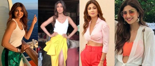 shilpa shetty outfit ideas, white and bright color combination outfit ideas, celeb outfit ideas