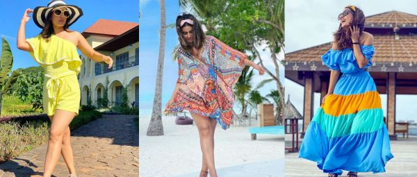 hina khan vacation outfit ideas, vacay outfits
