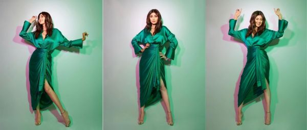 Shilpa Shetty's Green Silk Separates Have Killed Every Other Party Outfit For Us
