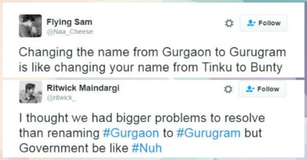 10 Hilarious Reactions To Gurgoan Being Renamed Gurugram!