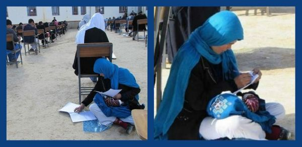 #WomenWhoInspire: Afghani Woman Writes An Exam While She Nurses Her Baby