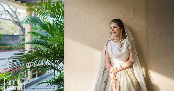 Would You Dare To Wear A Beige Lehenga With No Embroidery? This Bride Did & It's Fab!