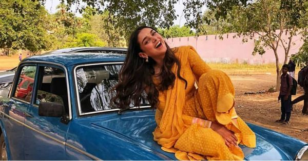 Aditi Rao Hydari Throws It Back To *Hava Ke Saath Saath* Days In A Breezy Yellow Suit