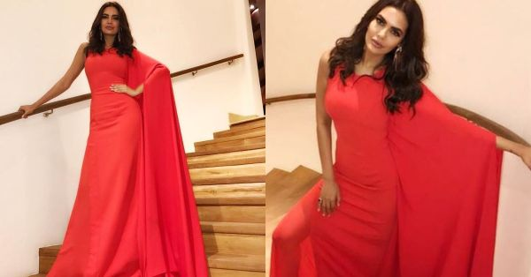 Esha Gupta Channels A Winged Fiery Goddess In A Sexy Red Gown!