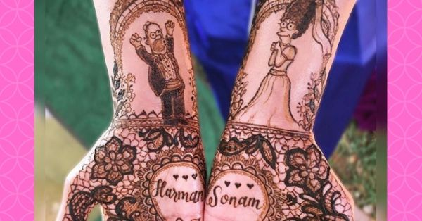 This Bride And Her Family Got *The Simpsons* Characters In Their Mehendi & It's Adorable!