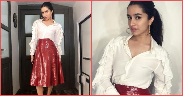 Shraddha Kapoor Looks Like A Real-Life Red Velvet Cupcake In This Skirt & Shirt Set