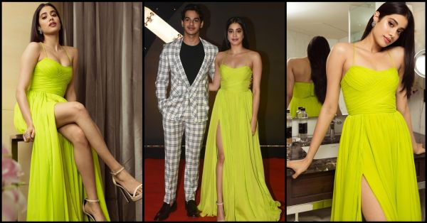 All Pics: Janhvi's Neon Dress Stole The *Lime* Light With A Thigh-High Slit & A Hint Of Cleavage