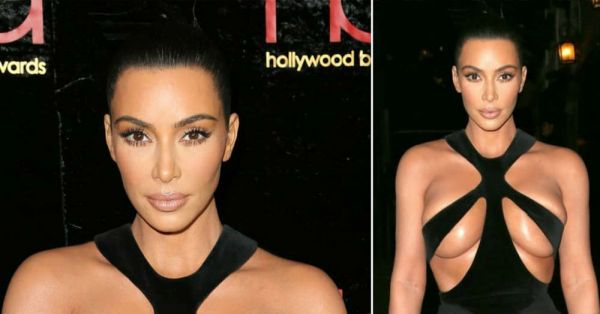 Kim Kardashian's Risqué Cutout Dress Is Barely Staying Up And It's Making Us Nervous