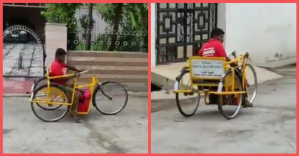 Twitter Is Saluting This Specially-Abled Delivery Man Who Delivers Food On His Tricycle