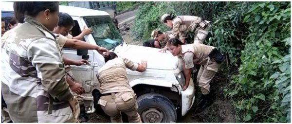 Power Move: Nagaland Women Battalion Pulls Mahindra Car Out Of A Ditch In Viral Video